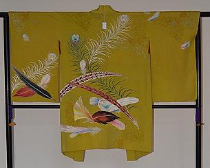 孔雀の羽根の図羽織