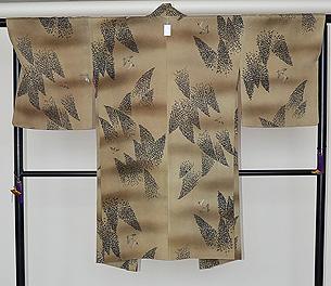竹林に雀の図羽織