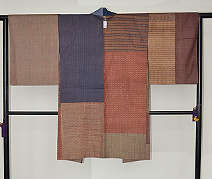 大正更紗と綿唐桟切嵌の羽織