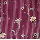 紫地縞と花唐草の単衣 上前