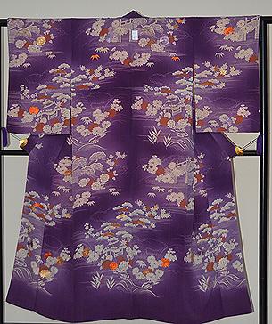 紫地ぼかしに四季の花の図訪問着