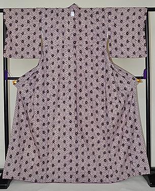 木綿地麻の葉紫紺染小紋