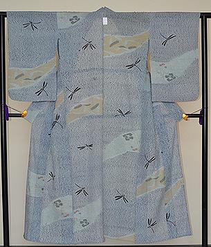 粟、芍薬、すすき、トンボの錦紗絞り単衣小紋
