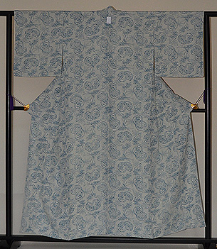 単衣・蹴毬と笹の図型染め小紋松原染工所作