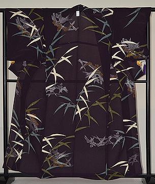 蛇籠に葦の図単衣小紋