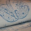単衣・蹴毬と笹の図型染め小紋松原染工所作 質感・風合