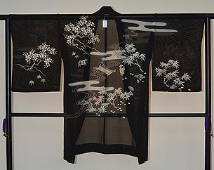 桜楓風景の図単衣羽織