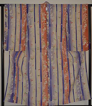 竹に秋草の図小紋