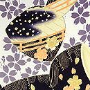 鼓胴に枝垂れ桜の図羽織 質感・風合