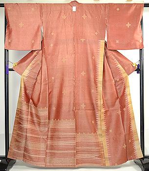タッサーシルク横紋織りに刺繍の付下