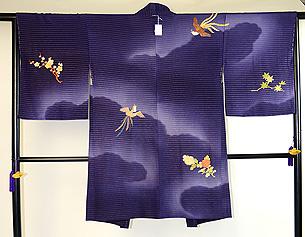 鳳凰に花々刺繍羽織