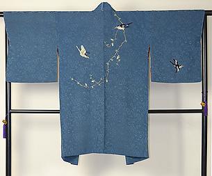 枝垂れ柳に鳥の図刺繍羽織