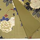 黄海松茶に白バラの小紋 質感・風合