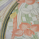 春の花束に市松文様小紋 質感・風合