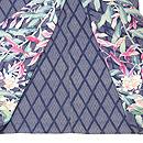 菱紋に葉鶏頭と桜草の散歩着 上前