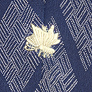 菱紋に葉鶏頭と桜草の散歩着 背紋
