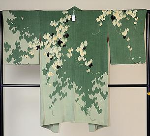 常盤緑色蔦文様長羽織