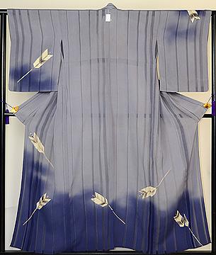 裾ぼかしに矢羽根の単衣訪問着