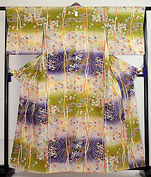 段ぼかし流れに松と桜の袷付下小紋