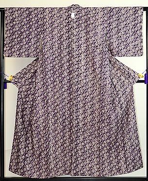 紫根染絞り袷小紋