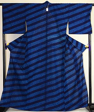 藍絞り染綿単衣