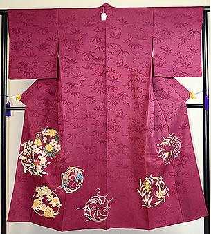 花の丸模様一つ紋単衣