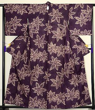 紫根染楓絞り袷小紋