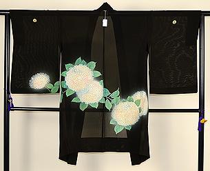 紫陽花絵羽模様三つ紋単衣羽織
