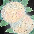 紫陽花絵羽模様三つ紋単衣羽織 上前
