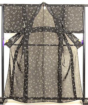 輪丸模様紗紬小紋