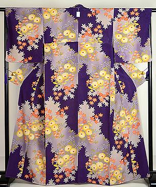 紫濃淡万寿、小菊と紅葉小紋
