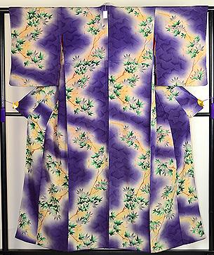 一つ紋紫ぼかし楓付下