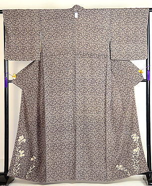 桜文江戸小紋袷小菊の裾模様