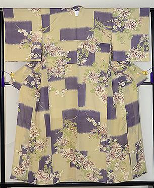 菊と梅のレトロ小紋
