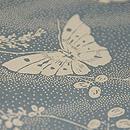 萩に蝶中型染め解き反物 上前