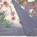 浦野理一作 流水に菖蒲と紅葉手描き友禅訪問着 上前