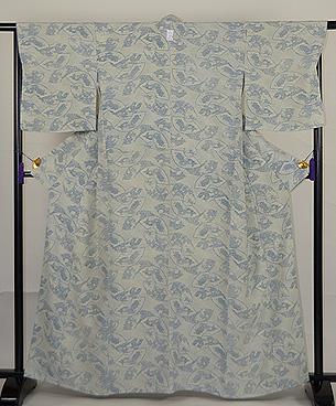 松原工房作 地白扇面に菊と藤中型