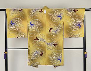 蘭に蝶々模様羽織