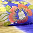 縞に寒の花の丸刺繍綸子地訪問着 上前