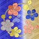 縞に寒の花の丸刺繍綸子地訪問着 質感・風合