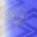 縞に寒の花の丸刺繍綸子地訪問着 紋