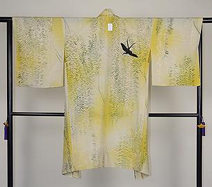 柳にツバメ単衣絵羽織