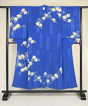 青色に白花絞り錦紗付下