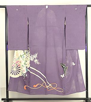 花車に蝶々単衣色留袖