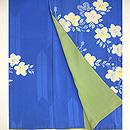 青色に白花絞り錦紗付下 上前