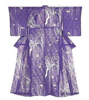 柳に燕の単衣小紋