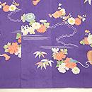 四季の花々模様菫色訪問着 上前