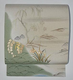 春の水辺風景図開き名古屋帯