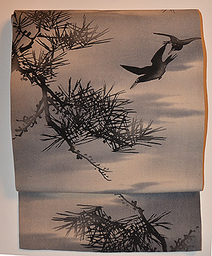松に烏の図染名古屋帯