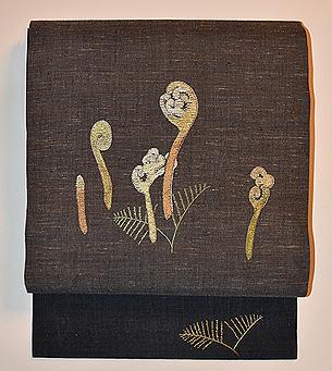 早蕨の図刺繍名古屋帯